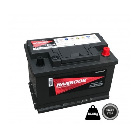 BATTERIE DEMARRAGE MICRO HYBRIDE EFB STOP AND START 12V 65Ah-650A HANKOOK